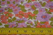 By 1/2 Yd, Vintage Lavender Orange & Green on White Quilting Cotton, N1099
