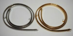"""2 Vintage Gold & Silver Tone Stretch Snake Chain Thin Belts 35""""L Criss Cross"""