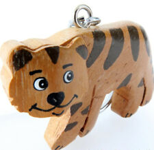 TIGER KEYRING HANDMADE & PAINTED IN DIFFERENT WOODS. 5cm x 3cm FAIR TRADE