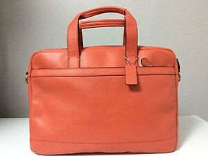 Coach Hudson Smooth Leather Briefcase Bag in Coral (Orange) F71561