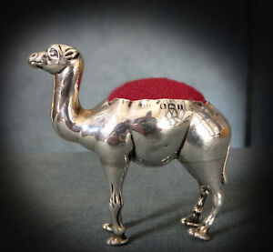 WONDERFUL RARE STERLING SILVER NOVELTY PIN CUSHION as a  CAMEL - 1908