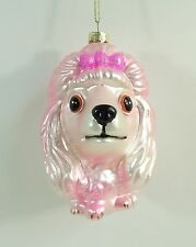 NEW Glass Pink Poodle Head Dog Lover Pooch Puppy Holiday Christmas Tree Ornament