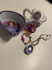 Sofia The First Cup Bowl Glowing Necklace Bracelet Purple White Disney Junior