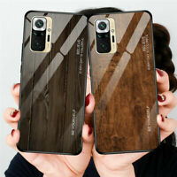 Luxury Tempered Glass Wood Slim Case Cover For Xiaomi Redmi Note 10 Pro Max 5G