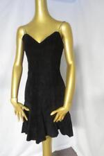 Sexy Vtg Black Leather Body Con Flirty Hemline Club Cocktail Dress Firenze M