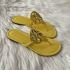 NIB Women's Sz 7.5 Tory Burch Patent Leather Miller Sandals In Limone Yellow