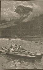 Cruising Canoes. River, Mountain. Wood Engraving. 1884