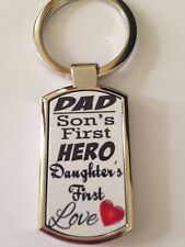 Dad, A Sons First Hero, Daughters First Love Keyring - New