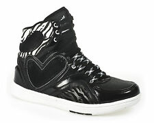 Womens Girls Trainers Black White Hi Tops Casual Fashion Shoes Ladies Kids