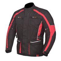 Men's Motorcycle Motorbike Jacket Waterproof Textile Cordura CE Armour Red