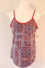 NEW Womens Spaghetti Strap Tank Top Small Red Blue Shirt Ladies Cami Summer SOFT