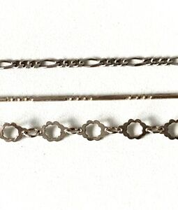 THREE Solid Sterling Silver - Fancy Link Chain Bracelets - In Gift Box