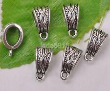 30pcs Tibetan silver charm beads bail jewelry Connectors Bails pendant 14mm