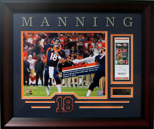Peyton Manning Framed Photo w/ Replica Ticket ALL TIME TD RECORD  Broncos 22x26