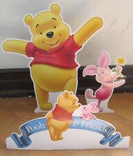 """DISNEY WINNIE The POOH 25"""" Tall & PIGLET 15"""" Tall W/ Pooh & Friends Sign NEW"""