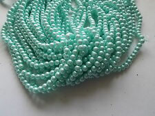 420pcs 6mm GLASS PEARL Faux Imitation Beads - TURQUOISE BLUE ( 3 strands )
