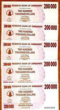LOT Zimbabwe, 5 x 200,000 (200000) Dollars, 2007, P-49, UNC