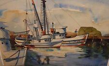 Carole Palmerston Fishing Boats Original Watercolor Seascape Painting