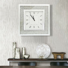 Square Wall Clock Large Sparkly Diamond Crushed Jewel Silver Mirror Modern 50cm