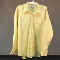 Joseph & Feiss Men's Dress Shirt 17 1/2 34/35 Non Iron 100% Cotton Yellow Career