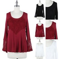 Women's Floral Lace Inset Scoop Neck Long Sleeve A Line Top Blouse S M L