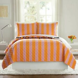 VERA BRADLEY Louisa Striped KING QUILT & 1 King Sham PINK WHITE ORANGE