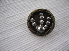 Vintage Small 5/8 Inch Metal Button, Cut Steels Plus Border - M62