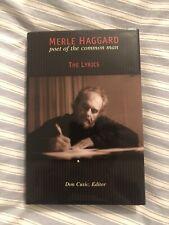 Merle Haggard Poet of the Common Man - The Lyrics Hardback Book RARE