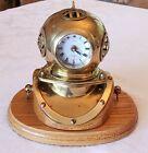 Vintage 'Ship's Clock' Brass Diving Bell Divers Helmet, Oak Base, Table Clock