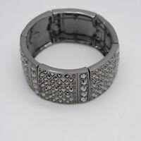 Lia sophia signed jewelry black cut crystals stretch bangle wide tennis bracelet
