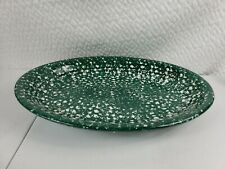 Roma Inc. Green Spongeware Oval Platter Dish Italy Handpainted Ceramic