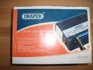Draper 12V DC 230V 200W AC Inverter Stock no 72173 Part no IN200