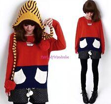 Brand New Japan Mori Style Pockets Two-Tone Sweater Blouse Shirt Top Size XS