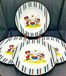 """4 Disney Store Metal Dinner Plates Mickey Minnie Mouse Summer Fun Barbecue 10"""""""
