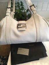 "b5388b4e2446 Fendi ""Sporty"" White Lambskin Leather Everyday Bag~Logo Hardware~Made In  Italy"