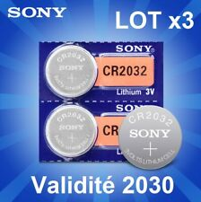 Lot 3x CR2032 Cr 2032 Original SONY Pile Bouton date 2030 Clé Carte Mère Montre