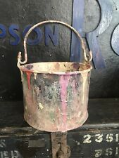Bf VINTAGE PAINT KETTLE FLOWER POT METAL STUDIO PHOTO PROP  DISPLAY GALVANIZED