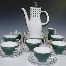 MID CENTURY THOMAS-ROSENTHAL 21 Pcs SET COFFEE POT CUPS PLATES,  POLKA DOT GREEN