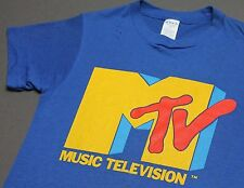 XS * thin vtg early 80s MTV t shirt * music television * 56.132