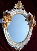 Wall Mirror Oval Angel Baroque White Gold Antique Rococo 38x28 c446sba NEW