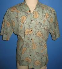 Joe Kealuha's Reyn Spooner Ukelele Bongos Oahu Green Hawaiian Camp Shirt M NWOT