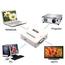 VGA auf HDMI Audio Video Adapter Wandler Konverter PC zu TV Full HD 1080P HDTV 1