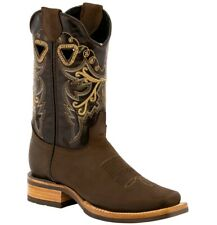 Womens Soft Brown Square Toe Boots Western Cowboy Rubber Sole Botas Vaquera