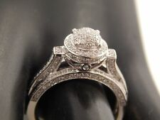 14k White Gold  1.0 tcw Illusion Diamond Encrusted Halo Engagement Ring G/SI