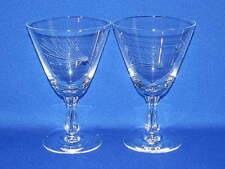 """FOSTORIA GLASS PINE ETCH PAIR WATER GOBLETS 5 7/8"""""""