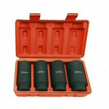 4pc 12dr 6pt Drive Deep Spindle Axle Nut Socket Set 30mm 32mm 34mm 36mm