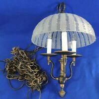Small Antique/Vtg Black Gold Iron Frosted Crystal Glass 3 Arm Light Chandelier