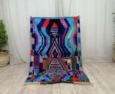 Vintage Moroccan Boujad Handmade Rug 3'5x5' Berber Striped Blue Tribal Wool Rug