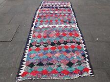 VECCHIO fatto a mano tradizionale persiano orientale Kilim Lana Cotone Rosso Blu 280x124m