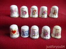 Set of 10 Mixed Flowers and More Collectors Thimbles Set No 2